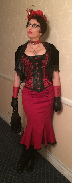 Gail Carriger Red & Black Steampunk Pinup at Gaslight Gathering in San Diego