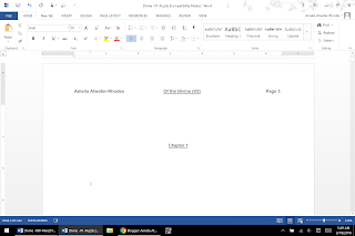 MS Word file saying Chapter 1 (then blank except a cursor)
