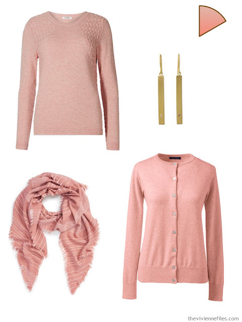 Dusty rose accents for a capsule wardrobe
