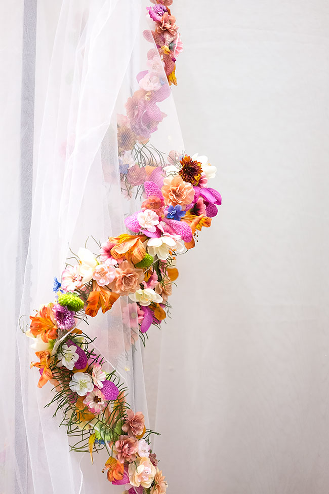 Cathedral Veil with Fresh Flowers