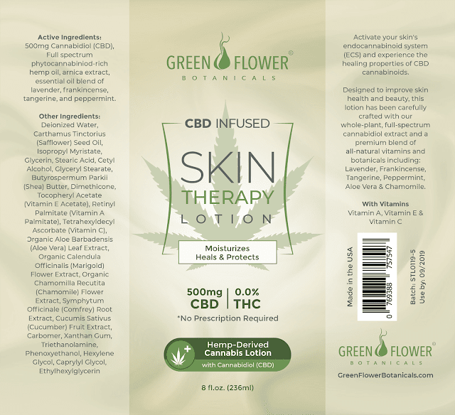 green flower CBD infused skin therapy lotion review by Barbies Beauty Bits