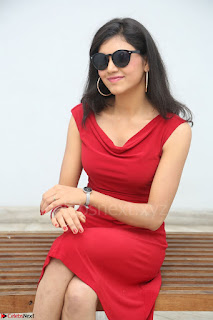 Mounika Telugu Actress in Red Sleeveless Dress Black Boots Spicy Pics 039.JPG