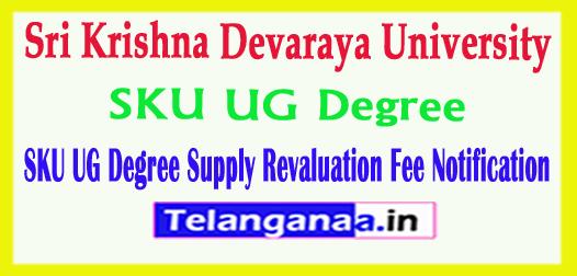 Sri Krishna Devaraya University SKU UG  Degree Supply Revaluation Fee Notification 2018