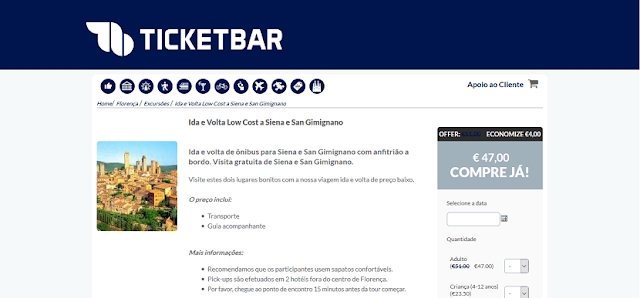 Ticketbar para ida e volta a Siena e San Gimignano