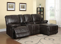 2pc Modern Transitional Sectional Recliner Leather Sofa Set : small sectional with recliner - Sectionals, Sofas & Couches
