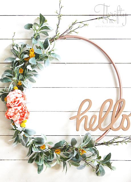 DIY spring wreath. DIY hula hoop wreath. How to make a hula hoop wreath tutorial