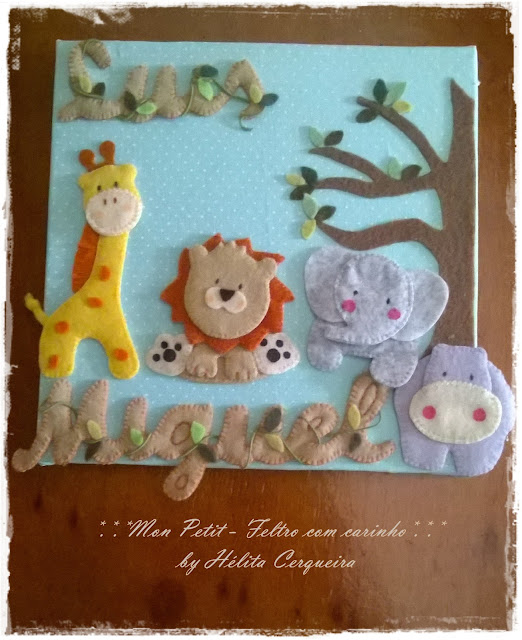 quadrinho-enfeite porta maternidade-feltro-tecido-tema safari-zoo