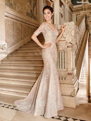 Vestidos con encaje de novia largo
