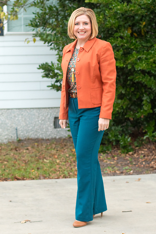 rust and teal office outfit, office outfit, fall colors
