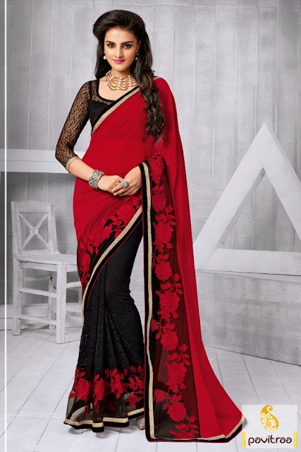 Latest trned red black color chiffon net embroidery saree online shopping for dieali festival 2015