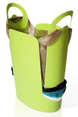 waste basket that stores and uses plastic grocery bags