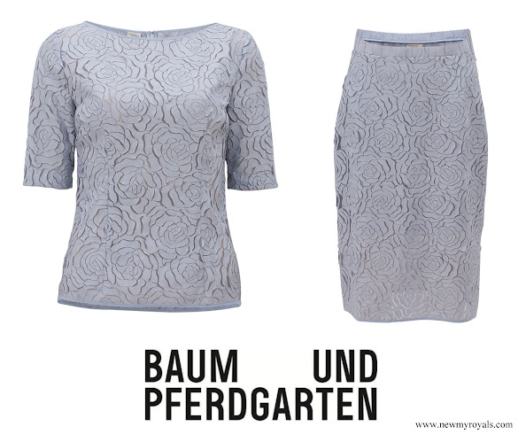 Crown Princess Victoria wore BAUM UND PFERDGARTEN 3D Flower Lace Top and Skirt