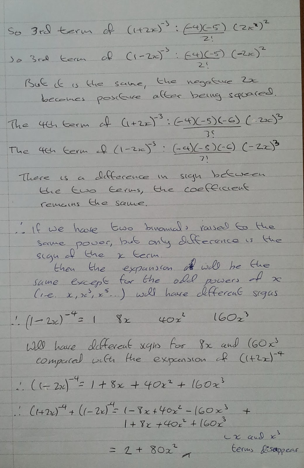 A Level Maths Notes: A2 Binomial Expansion: negative