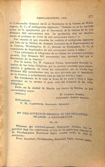 Proclamation No. 10 series of 1909 in English.