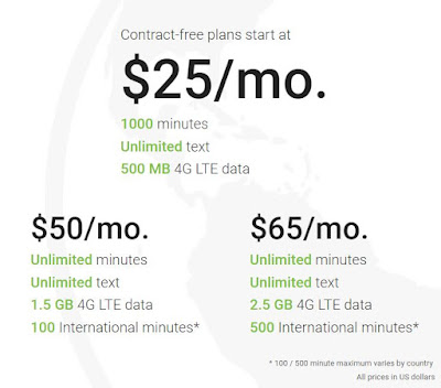 $25 - $65 per month for 500 MB, 1.5 GB, 2.5 GB