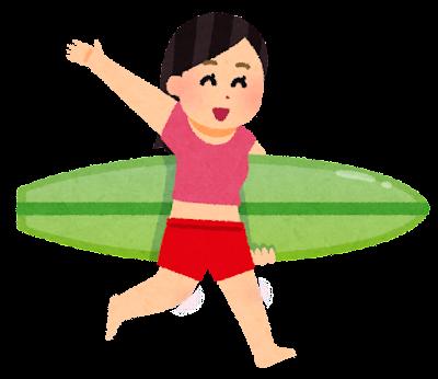 サーフィンをしに行く人のイラスト(女性)