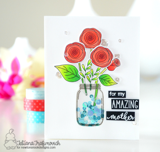 Amazing Mother Flowers in Jar Card by Tatiana Trafimovich | Lovely Blooms Stamp Set by Newton's Nook Designs #newtonsnook