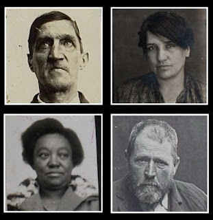 A composite image depicting four different black and white prisoner photographs arranged in a 2 by 2 square, all head and shoulders, likely different periods. The subjects are possibly two men and two women of diverse ethnic backgrounds, the two on the left, a man and a woman, are looking away from the camera, the two on the right are looking directly into it.