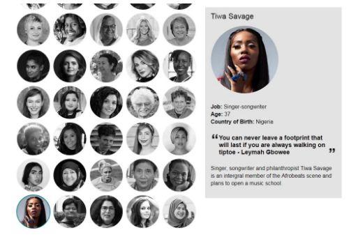 Tiwa Savage Makes BBC's 100 inspirational & Innovative Women for 2017