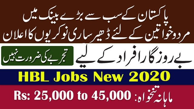 HBL Bank New Jobs 2020 For Male and Female Apply Online