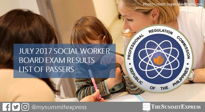 LIST OF PASSERS: July 2017 Social Worker board exam results released