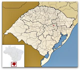 Cidade de Travesseiro, no mapa do Rio Grande do Sul