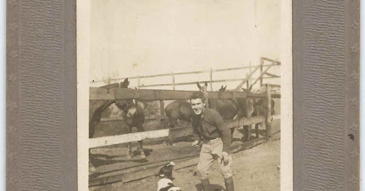 Post 1917 Photograph of Pvt. Manuel Pacheco at the Post Commissary at Mitchel Field, Long Island, New York