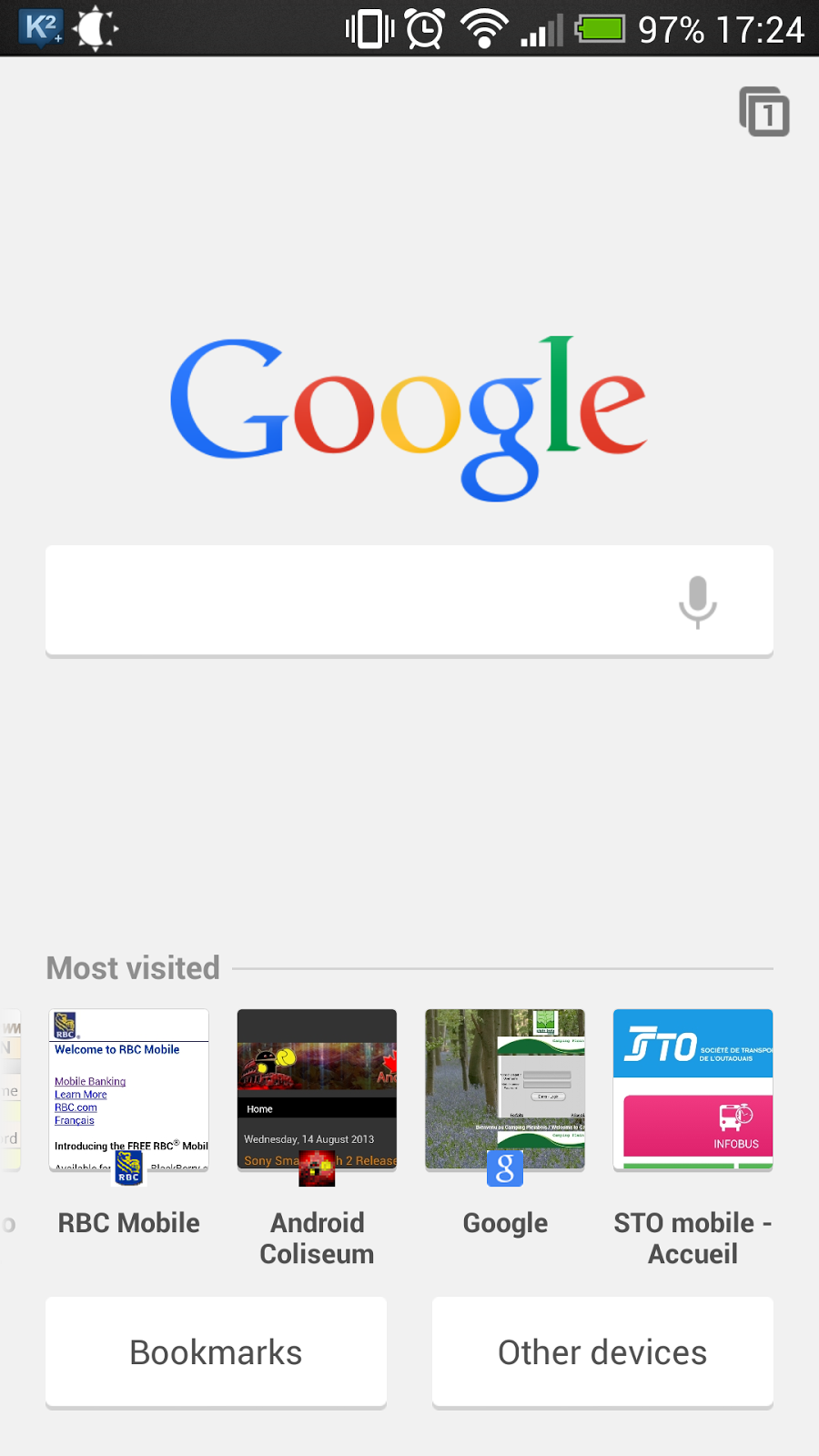 Different Tab Page UI in Chrome Beta on Android ~ Android