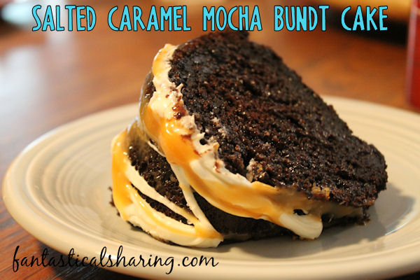 Salted Caramel Mocha Bundt Cake // This decadent chocolate cake is super moist with the addition of yogurt and topped with chocolate and salted caramel #recipe #dessert #chocolate #caramel #bundtcake