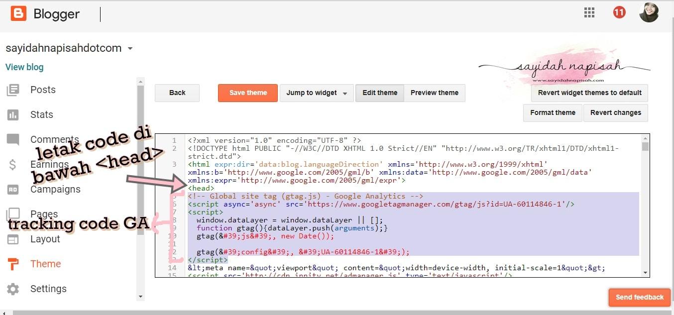 Tutorial Google Analytics: Cara Masukkan Tracking Code & Tracking ID Ke Dalam Blog