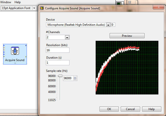 NI LABVIEW Snapshot of Acquisition of Voltage of Our Common Man Oscilloscope, Through 3.5 mm jack
