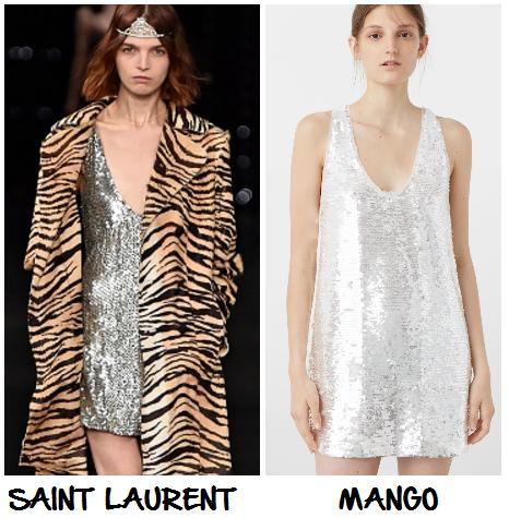 clon vestido lentejuelas Saint Laurent Mango