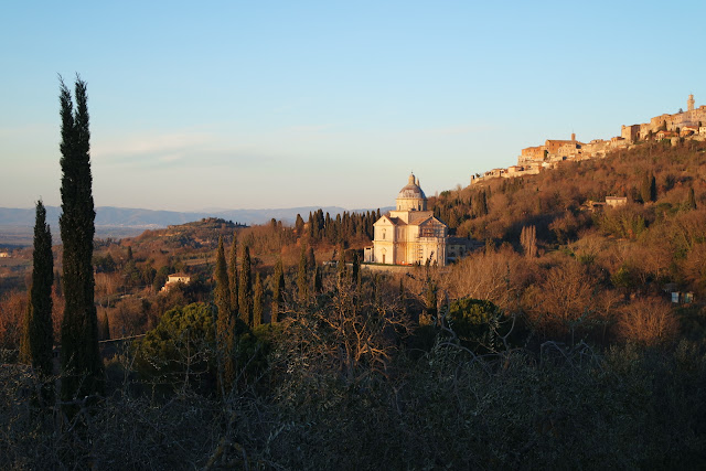 The church of San Biagio against the backdrop of Montepulciano