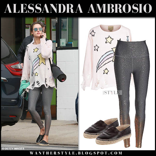 Alessandra Ambrosio in pink star knit wildfox sweater and grey leggings celebrity yoga clothes november 19