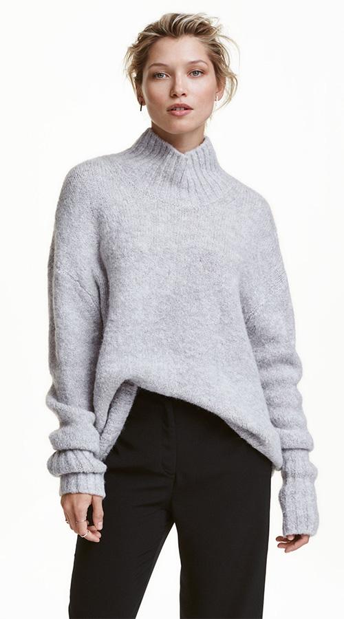 Pull femme chaud col roulé gris chiné H&M