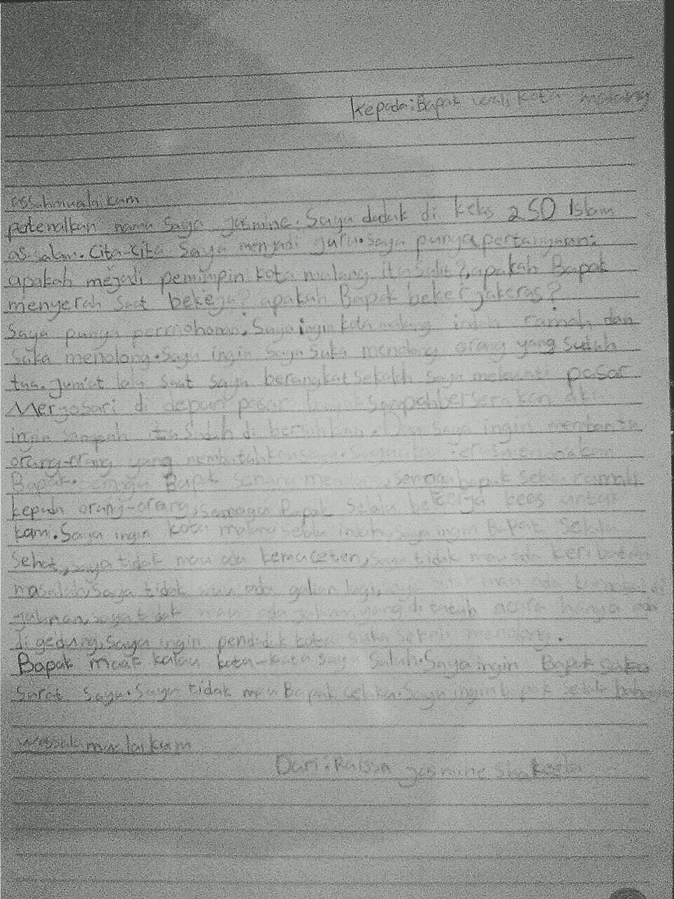 Proses Kreatif Juara I Lomba Menulis Surat Untuk Walikota
