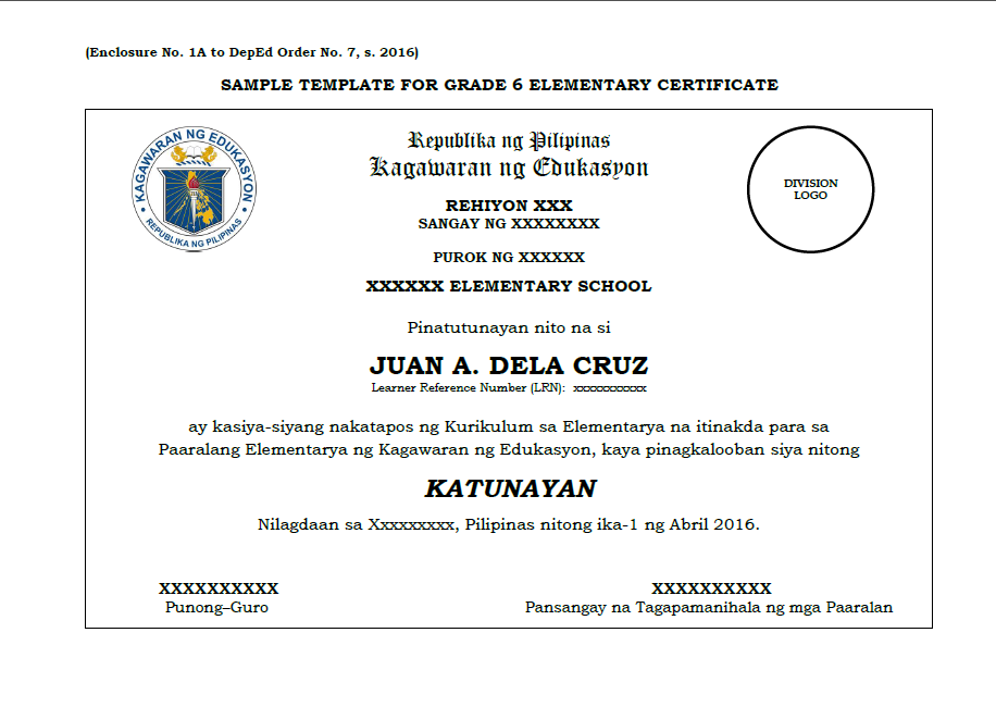 Sample template grade 6 10 12 certificate deped lps sample template grade 6 10 12 certificate yadclub Choice Image