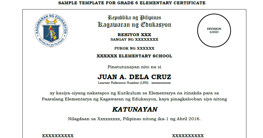 Sample template grade 6 10 12 certificate deped lps yelopaper Choice Image