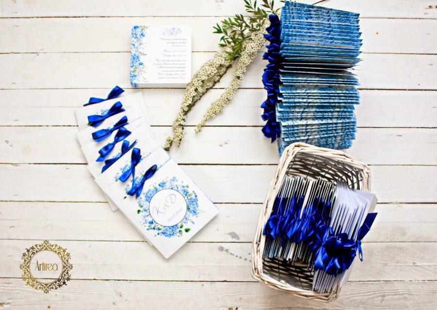 zaproszenia ślubne niebieskie