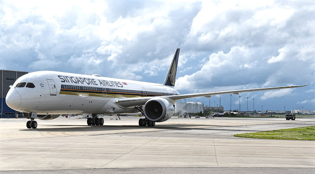 Boeing 787-10 of Singapore Airlines Taxiing Back To Ramp