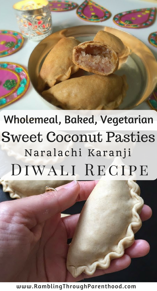 Wholemeal, baked, vegetarian Naralachi Karanji (Sweet Coconut Pasties) for Diwali