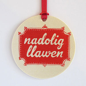 Nadolig Llawen Christmas Tree Decoration, Christmas Decorations, Not On The High Street