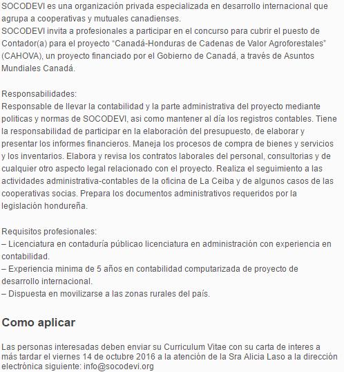 Contador A Honduras Empleos En Honduras