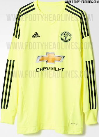 5bd3b788 Based on Adidas' 15-16 goalkeeper shirt template, the Manchester United  Goalkeeper Jerseys come in green and garish yellow, with club specific  print details ...