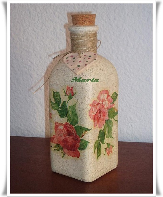 Las manualidades de marta botella decorada con decoupage - Botellas decoradas manualidades ...