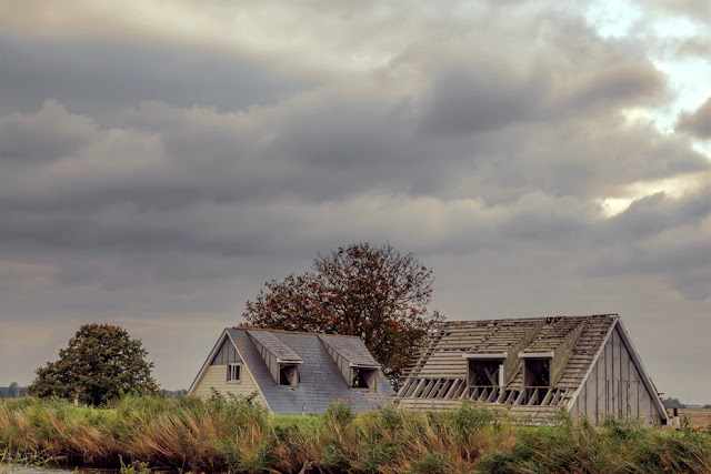 Old houses and trees under stormy clouds at Ouse Washes in Cambridgeshire