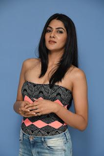 Sakshi Chowdhary Innocent beauty exposing cleavages at selfie Raja movie press meet