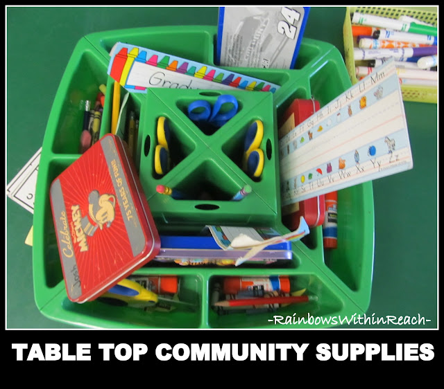 photo of: Community Supplies in Kindergarten, Table Top Container of Shared Materials