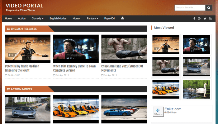 Responsive tubemag video template for Movies, video blog, drama blog ...