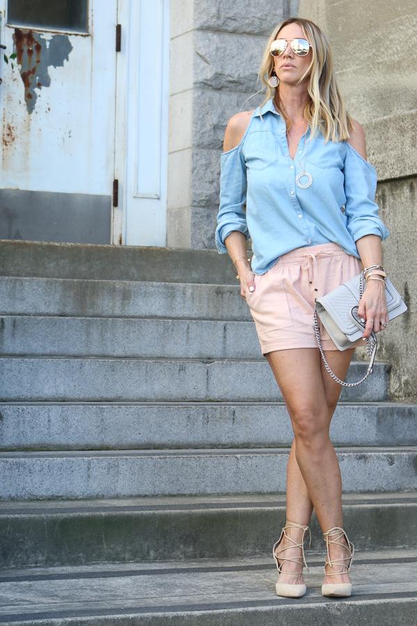 blush linen cuffed shorts